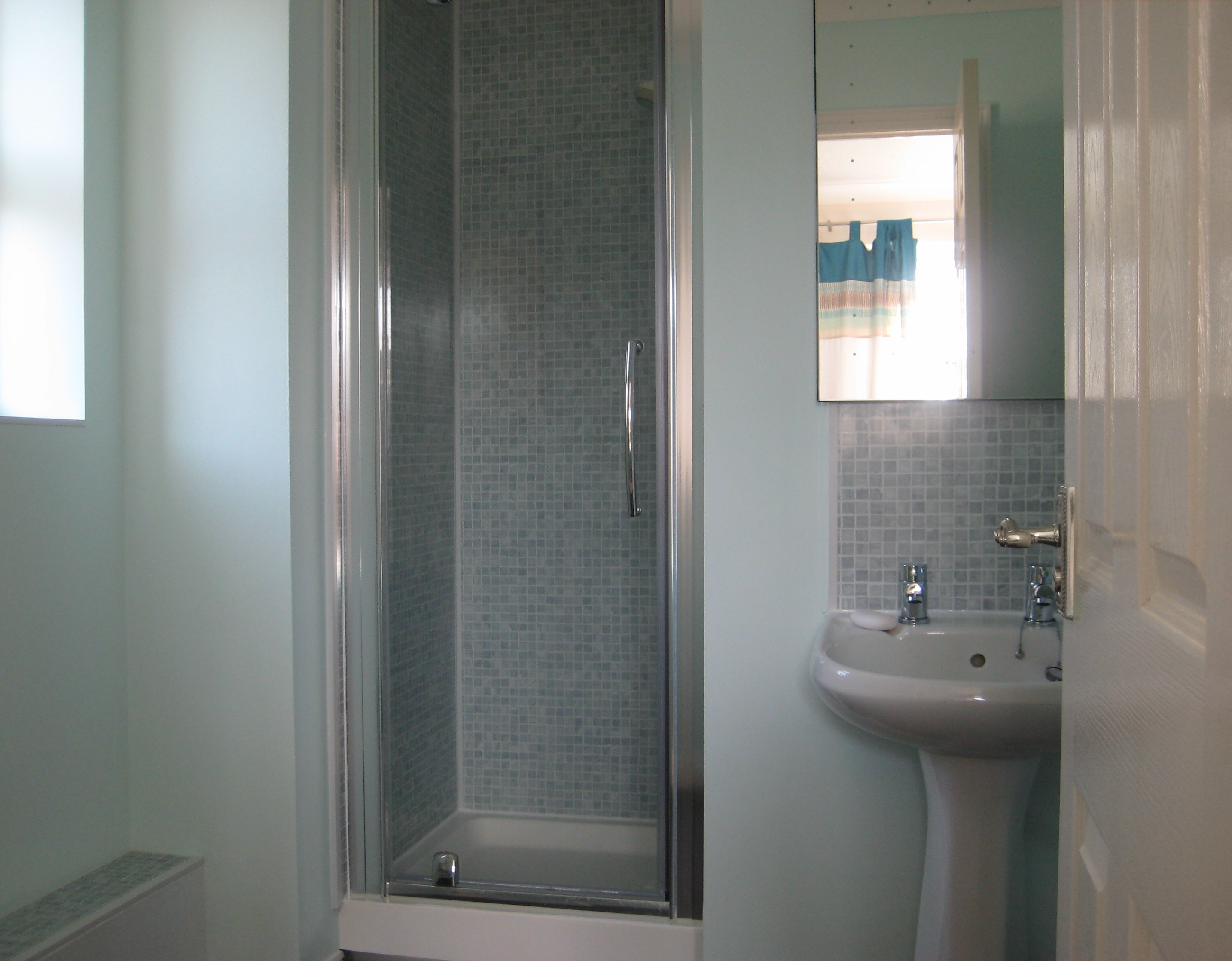 Mosaic Grey Panels In A Shower
