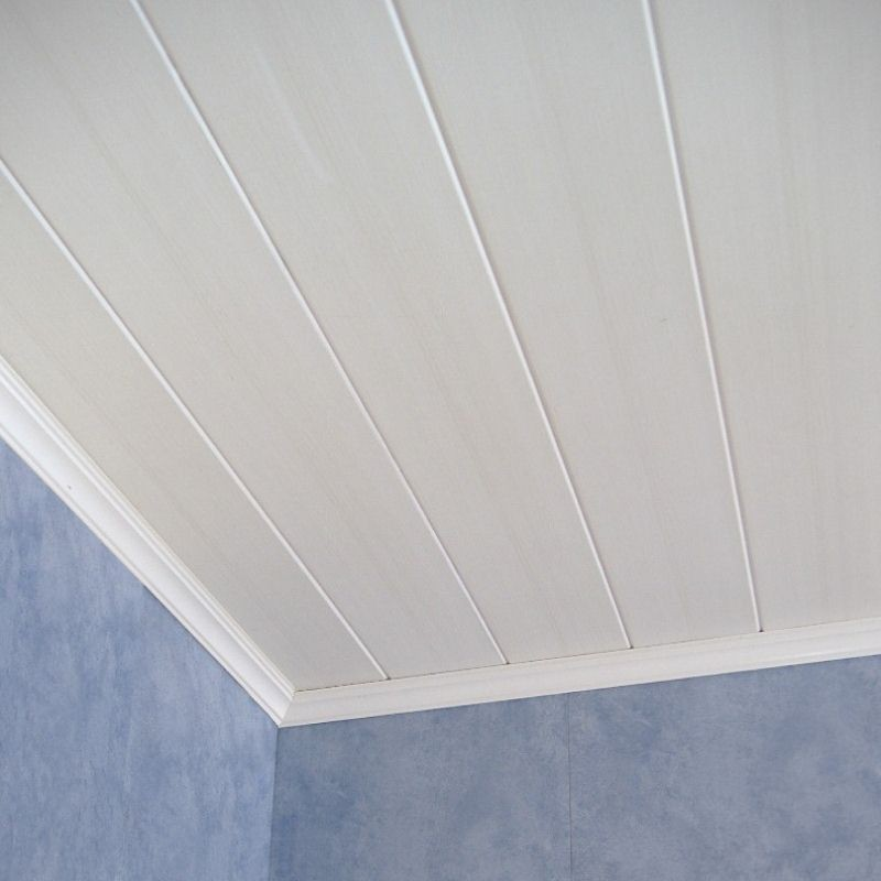 Ligno vanilla wood effect panels from the bathroom marquee for Coving for bathroom ceilings