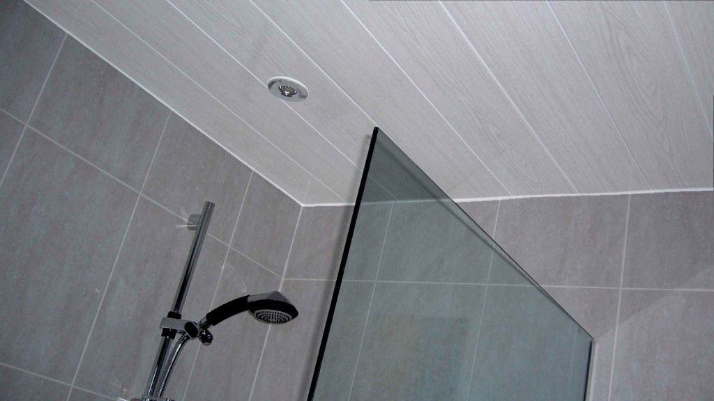 Belmont White Ash Panels Used On A Bathroom Ceiling