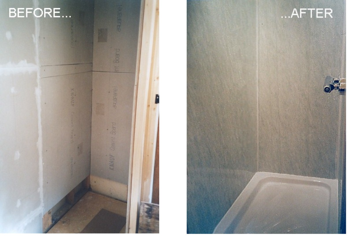 shower cubicle panels - before and after
