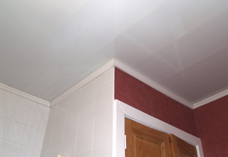 gloss white bathroom ceiling cladding