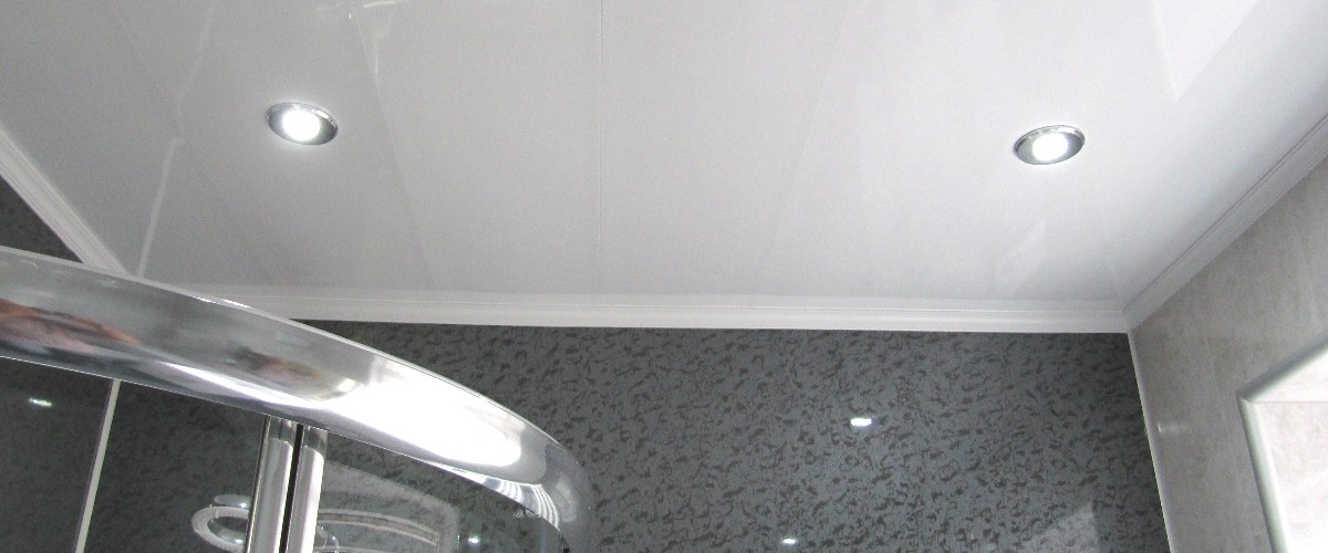 gloass white shower ceiling cladding