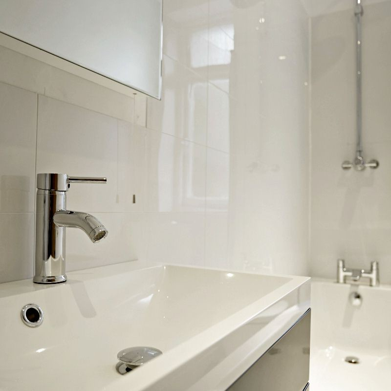 white bathroom wall cladding