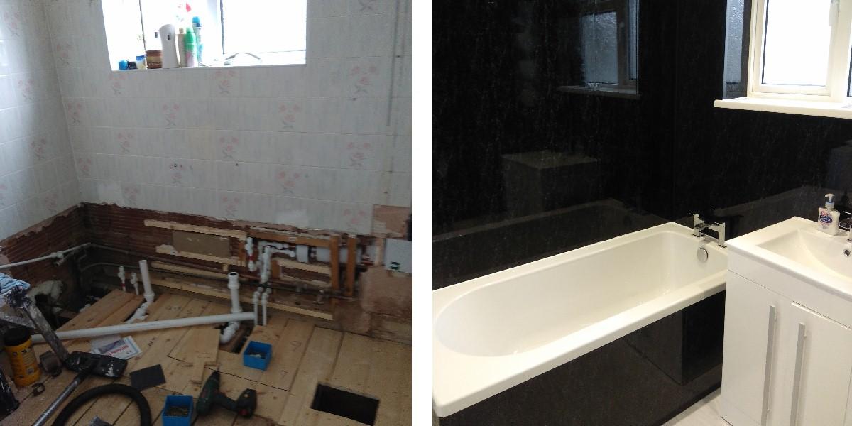 black marble bathroom cladding