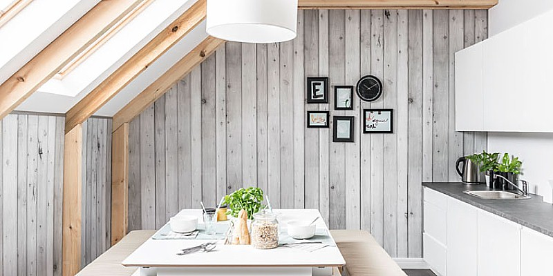 wood-grain kitchen wall cldding