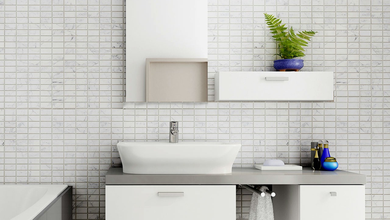 carrara white mosaic tiles effect panels