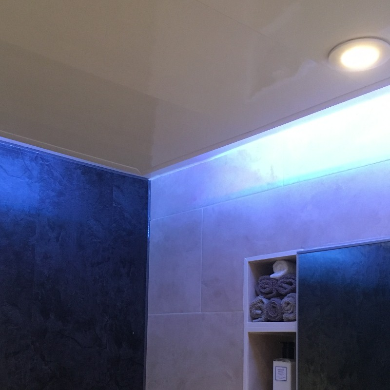 bathroom ceiling panel lighting1 - Combining Bathroom Cladding And Tiles