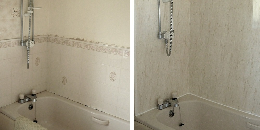 before after6 - Bathroom Makeover Using Cladding